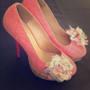 Pink High Heels With Flower Accent